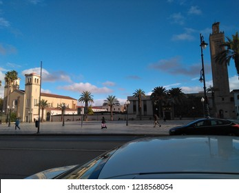 The presence of two religious institutions (a mosque to the right of the picture and a church to the left of the photo) is located near the city of Oujda, witnessing coexistence and tolerance between