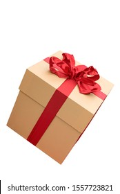 Present box with red ribbon isolated on background