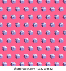Present boxes arranged horizontally isometric seamless pettern. Perfect carton giftboxes decorated with bows and polka dots on red background. Wrapping paper design similar images 3d style