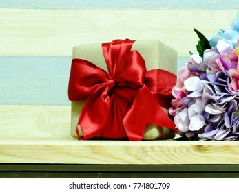 present boxes decorated with ribbon and beautiful decorated
