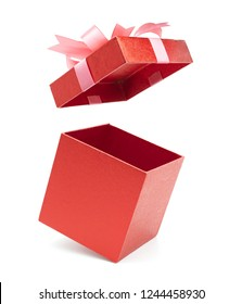 Present explosion for Christmas ,New Year's Day and valentine, Open red gift box white background