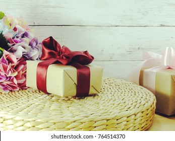 present gift boxs with flower for special holiday concept