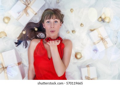 present gift smiling person on decorated background