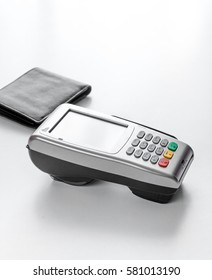 Present purchase with payment by card on white background