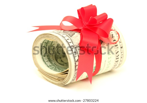 present of roll of dollars with red ribbon bow isolated