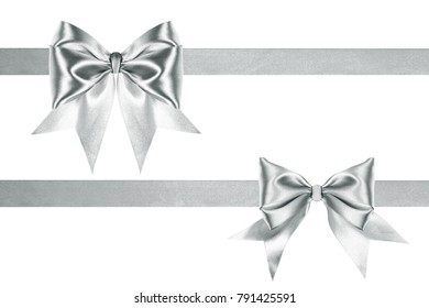 Present satin silver two ribbons and bows on a white background