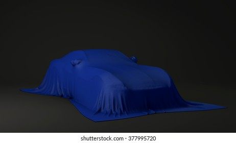 Presentation of the blue sport car