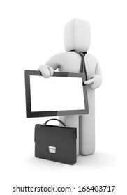 Presentation. Businessman with tablet pc