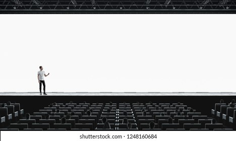 Presentation hall with person on scene auditorium watching on blank screen mockup. Empty display with speaker represent mock up. Public on training or forum template.