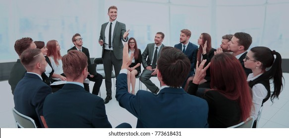 Presentation to the large number of people. Communication with e