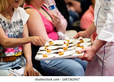 Presentation of pastry at the pastry fair in Paris, France