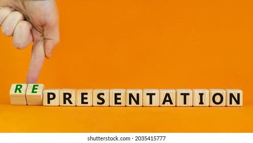 Presentation representation symbol. Businessman turns cubes, changes words presentation to representation. Beautiful orange background, copy space. Business, presentation or representation concept.
