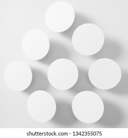 Presentation slide template - a set of paper circle shapes with shadows, 1:1 aspect ratio, black & white image