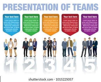 Presentation of teams. Design speech diagrams for infographic and website. Creative testimonials template.