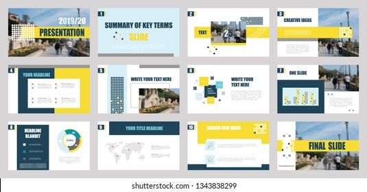 Presentation template. Elements for slide presentations. Use also as a flyer, brochure, corporate report, marketing, advertising, annual report, banner. Yellow,blue.