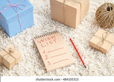 Presents for Christmas - wish list with gift boxes