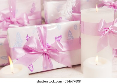 Presents Gift Boxes, Silk Ribbon Bow White Pink Color, Christmas or Birthday for Girl or Woman