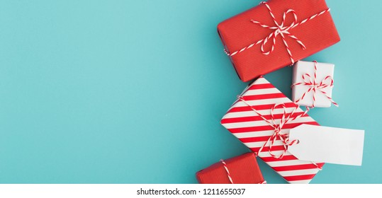 Presents on a blue background.