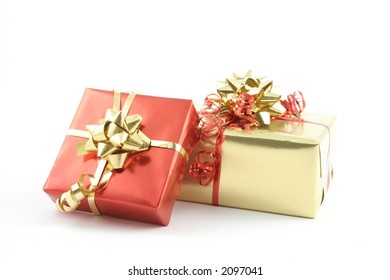 Presents on a white background