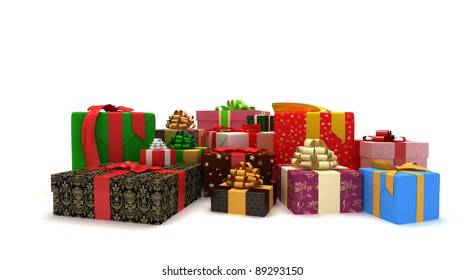 presents on the white background