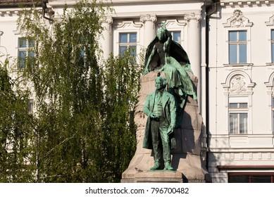 Presern statue on  Presern square in Ljubljana, Slovenia