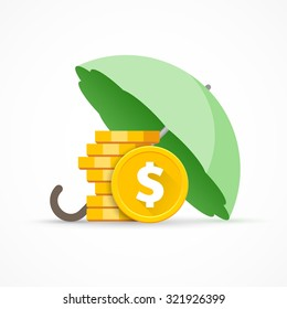 Preservation and protection money. Stack of dollar coins under the umbrella