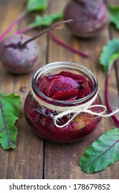 Preserved beetroot in a jar