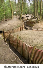 Preserved first world war trenches in Belgium, Europe
