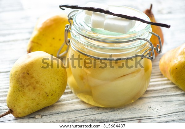 Preserved fruit.Homemade pears compote