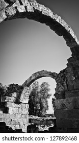 Preserved Greek arches in ruins of ancient complex in Paphos, Cyprus