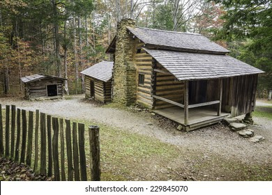 The preserved homestead of the Elijah Oliver Place in Cades Cove, Great Smoky Mountains National Park, Tennessee.