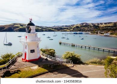 The preserved iconic Akaroa Lighthouse in the settlement of Akaroa on Banks Peninsula in New Zealand