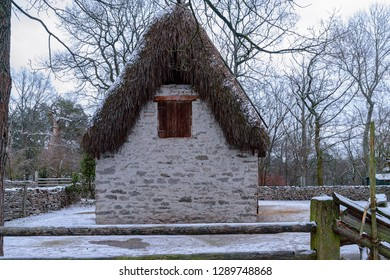 Preserved traditional Gotland style sheep shed with stone plastered walls and thatched roof at Skansen open-air museum. Stockholm, Sweden.