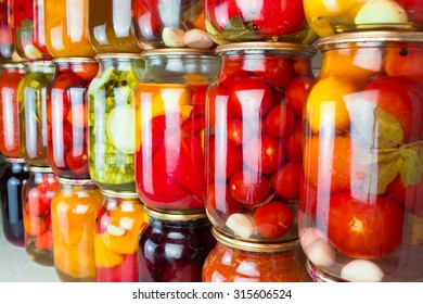 Preserved vegetables and food ingredients set in a row