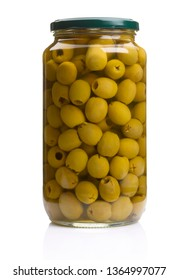 preserving jar with olives on white background