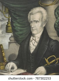 President Andrew Jackson, 1835-37, hand-colored lithograph by Nathanial Currier