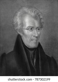 President Andrew Jackson, lithograph by George Endicott, from a 1832 painting by Ralph E. W. Earl. Earls portrait of Jackson with eyeglasses was painted in Nashville and is now in the collection of th