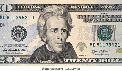 President Andrew Jackson on US 20 dollar bill close up, Unites States federal fed reserve note.