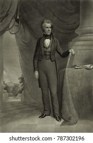 President Andrew Jackson, in the White House with a view of the Capitol, c. 1840-1870. Engraving by John Sartain, after a painting by James Reid Lambdin