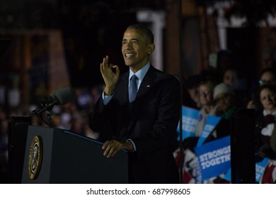 President Barack Obama addresses a crowd estimated at more than 30,000 filling Philadelphia's Independence Mall on the eve of the US election, Monday, November 7th, 2016.