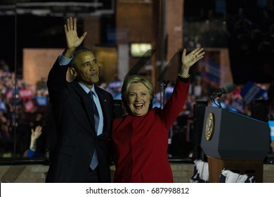 President Barack Obama and Democratic nominee Hillary Clinton greet a crowd of thousands gathered on Philadelphia's Independence Mall on the eve of the election, Monday, November 7, 2016.