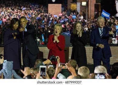President Barack Obama, Democratic nominee Hillary Clinton and their families greet a crowd gathered on Philadelphia's Independence Mall on the eve of the election, Monday, November 7, 2016.