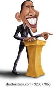 President Barack Obama Giving Speech - Isolated