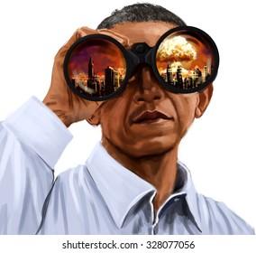 President Barack Obama Looking at Global Warming and Future Wars Through Binoculars