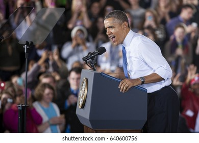 President Barack Obama speaks to an audience of University of Michigan students at the Intramural Building during a visit to Ann Arbor on Wednesday, April 2, 2014.