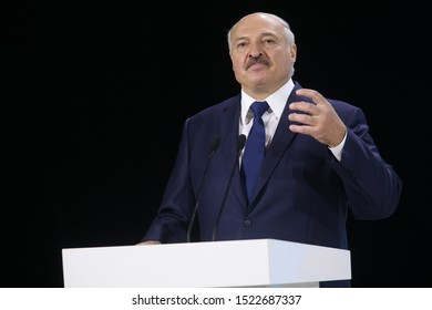 President of Belarus Alexander Lukashenko speaks in Zhitomir, Ukraine October 4, 2019
