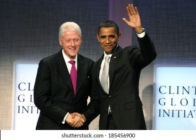 President Bill Clinton, President Barrack Obama at a public appearance for 2009 Annual Meeting of the Clinton Global Initiative-Opening Plenary, Sheraton New York Hotel and Towers, NY Sept 22, 2009