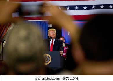 President Donald Trump addresses a rally held in Harrisburg, PA to commemorate his 100th day in office, Saturday, April 29, 2017.