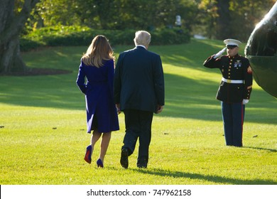 President Donald Trump and first lady Melania Trump depart the White House for an 11-day, 5-nation trip to Asia, Friday, November 3, 2017.