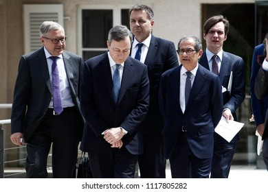 President of the ECB, Mario Draghi arrives to attend in an Eurogroup meeting at Senningen Castle in Luxembourg on June 21, 2018.